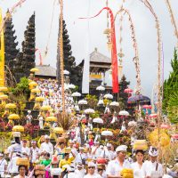 Religious Procession At Pura Besakih Temple In Bali, Indonesia